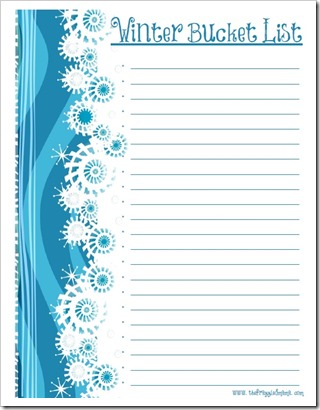 Free Winter Bucket List Printable - The Frazzled Mama